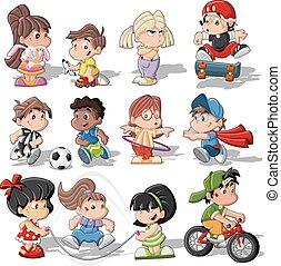csinos, gyerekek, karikatúra, játék