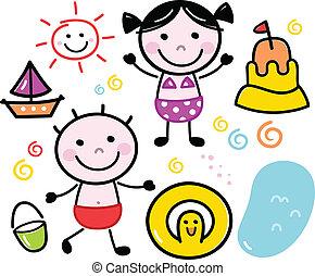 csinos, gyerekek, nyár, szórakozottan firkálgat, elszigetelt, állhatatos, fehér