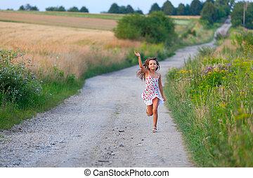 csinos, hét, nyár, év, futás, napnyugta, leány, filds, nap, út