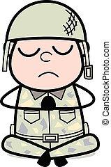 csinos, hadsereg, -, ábra, katona, vektor, könyörgés, karikatúra, ember
