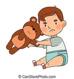 csinos, hord, csecsemő, fiú, vektor, emelet, ábra, ülés, pelenka, teddy-mackó