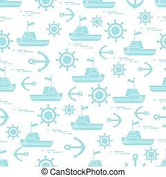 csinos, horgonyok, motívum, seamless, theme., hajó, flags., tengeri, steering tol