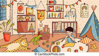 csinos, houseplant., puska, gyermekszoba, otthon, szőnyeg, kevés, illustration., emelet, -, ágy, dekoráció, tele, ülés, polc, toys., gyermek, csecsemő, karikatúra, berendezés, fiú, kempingágy, szoba, játék, vektor, vagy