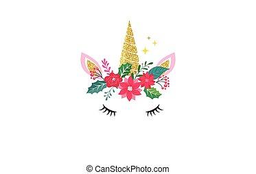 csinos, ing, -, ábra, tervezés, vidám, egyszarvú, karácsonyi üdvözlőlap