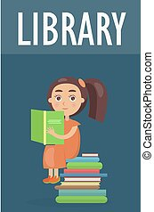 csinos, irodalom, könyvtár, cölöp, leány, őt ül