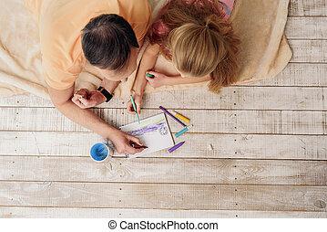 csinos, kép, festmény, család saját
