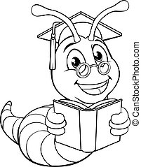 csinos, könyv, féreg, karikatúra, oldal, halálbogár, színezés