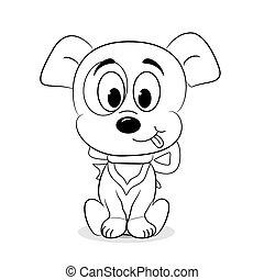 csinos, körvonalazott, karikatúra, kutya
