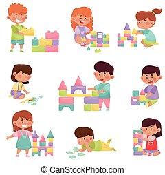 csinos, különböző, játék, állhatatos, játékok, gyerekek, apró, vektor, ábra