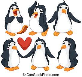 csinos, különböző, pingvin, beállít