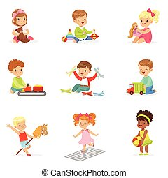 csinos, különböző, saját, élvez, gyermekek játék, -eik, játékok, apró, childhood., móka, birtoklás