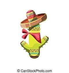 csinos, kalap, kaktusz, fehér, mexikói, háttér