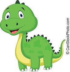 csinos, karikatúra, dinoszaurusz, zöld