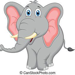 csinos, karikatúra, elefánt
