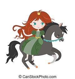 csinos, karikatúra, fekete, hercegnő, horse.