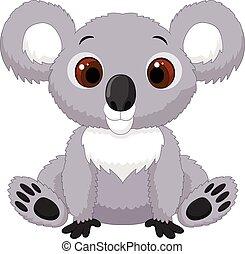 csinos, karikatúra, koala, ülés