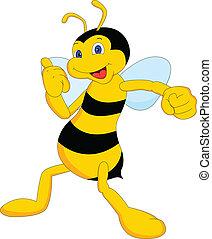 csinos, karikatúra, méh, feláll, lapozgat