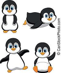 csinos, karikatúra, pingvin