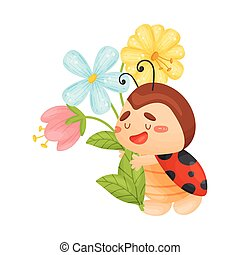 csinos, katicabogár, bouquet., ábra, háttér., vektor, fehér