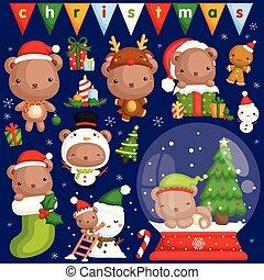 csinos, kevés, állhatatos, hord, vektor, különféle, jelmez, beállít, christmas celebration