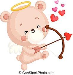 csinos, kevés, birtok, angyal, szív, hord, íj, vektor, jelmez, nyíl