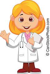 csinos, kevés, doktornő, nyugat, karikatúra
