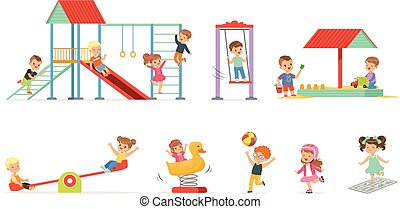 csinos, kevés, gyerekek, állhatatos, gyerekek, móka, vektor, játszótér, szabadban, ábra, karikatúra, játék, birtoklás