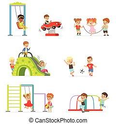 csinos, kevés, gyerekek, állhatatos, játék, móka, vektor, játszótér, ábra, karikatúra, birtoklás