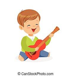 csinos, kevés, gyerekek, fiú, gitár, zenész, fiatal, ábra, játék, vektor, emelet, eszköz, játékszer, ülés, oktatás, zenés, karikatúra