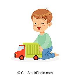 csinos, kevés, játékszer, színes, fiú ül, betű, ábra, vektor, emelet, csereüzlet, játék, boldog