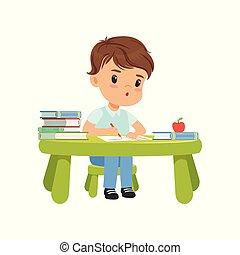 csinos, kevés, notebookvector, fiú ül, betű, ábra, írás, háttér, asztal, fehér