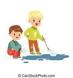 csinos, kevés, tócsa, ábra, játék, víz, fiú, vektor, dolgozat, csónakázik, karikatúra