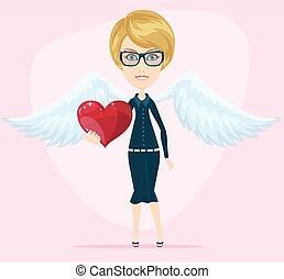 csinos, kicsi angel, köszönés, valentine kártya