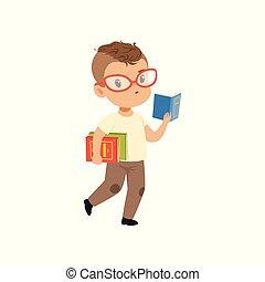 csinos, kicsi fiú, betű, gyalogló, ábra, vektor, háttér, fehér, olvasókönyv, szemüveg