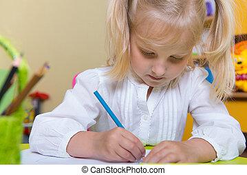 csinos, kicsi lány, rajz