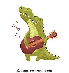 csinos, krokodil, guitar., ábra, háttér., vektor, fehér