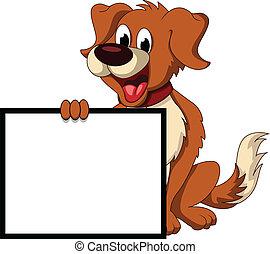 csinos, kutya, aláír, birtok, tiszta, karikatúra