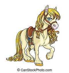 csinos, ló, harnessed, nyereg, arany-, elszigetelt, sörény, háttér, fehér