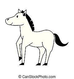 csinos, ló, kicsapongó élet, fekete, állat, fehér, karikatúra