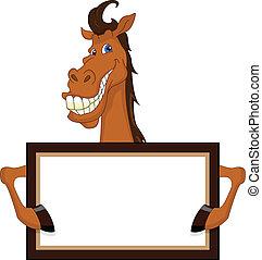 csinos, ló, tiszta, karikatúra, aláír