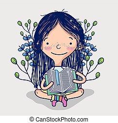csinos, leány, könyv, felolvasás, karikatúra