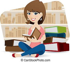 csinos, library előjegyez, lány olvas, karikatúra