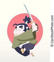 csinos, mód, japán, ábra, szamuráj, vektor, pufók