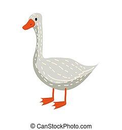csinos, madár, ábra, irányvonal, elszigetelt, vektor, liba, háttér, fehér, állat, karikatúra, mód
