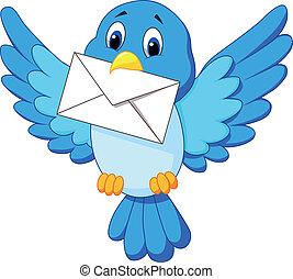 csinos, madár, karikatúra, levél, átadó