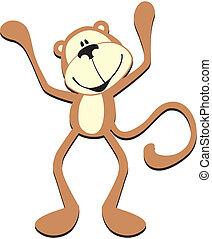 csinos, majom, boldog
