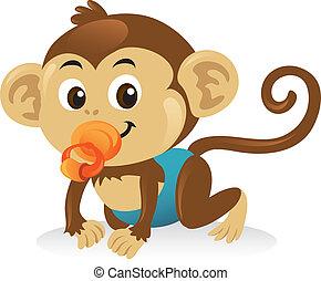 csinos, majom, pose., csúszó, cucli, csecsemő