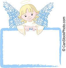 csinos, meghív, angyal, &, eszközöl kártya