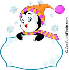 csinos, meghív, &, eszközöl kártya, pingvin