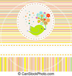 csinos, menstruáció, vektor, madarak, kártya